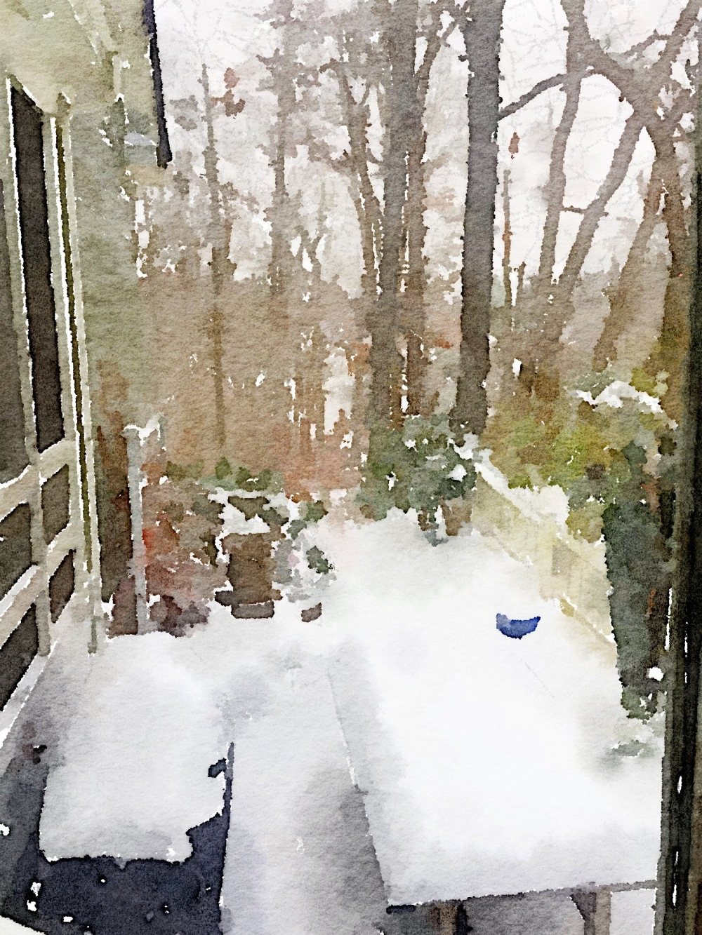 Out the Backdoor Painted in Waterlogue